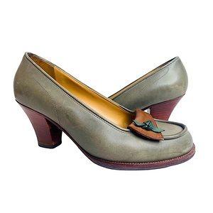 MARNI Retro Oxford Chunky Heels Two Tone Green 5.5